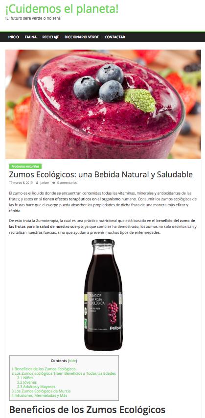Cuidemoselplaneta.org dedica un post a Zumos Ecológicos de Murcia